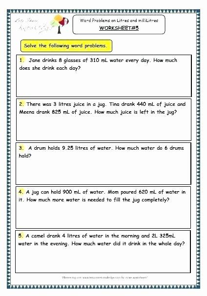 Perimeter Worksheet for 3rd Grade Rounding Word Problems Worksheets Capacity Grade Perimeter