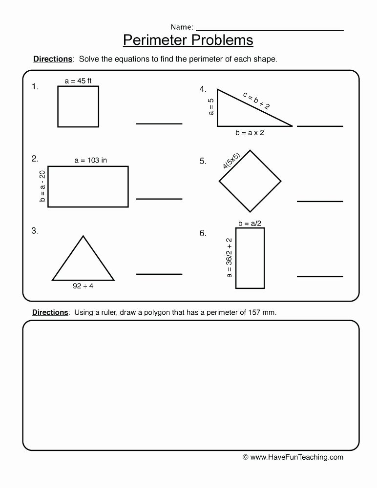 Perimeter Worksheets 3rd Grade Pdf Printable Perimeter Worksheets Unit Free for Third Grade