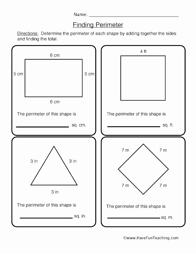 Perimeter Worksheets for 3rd Grade Easy Perimeter Worksheets