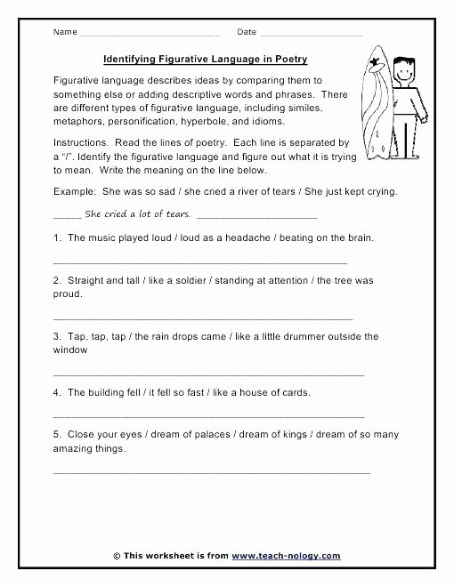 Personification Worksheet 2 Figurative Language Worksheets 6th Grade Explain the