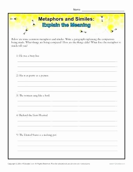 Personification Worksheet Answers Free Figurative Language Worksheets 3rd Grade 3 Experimental
