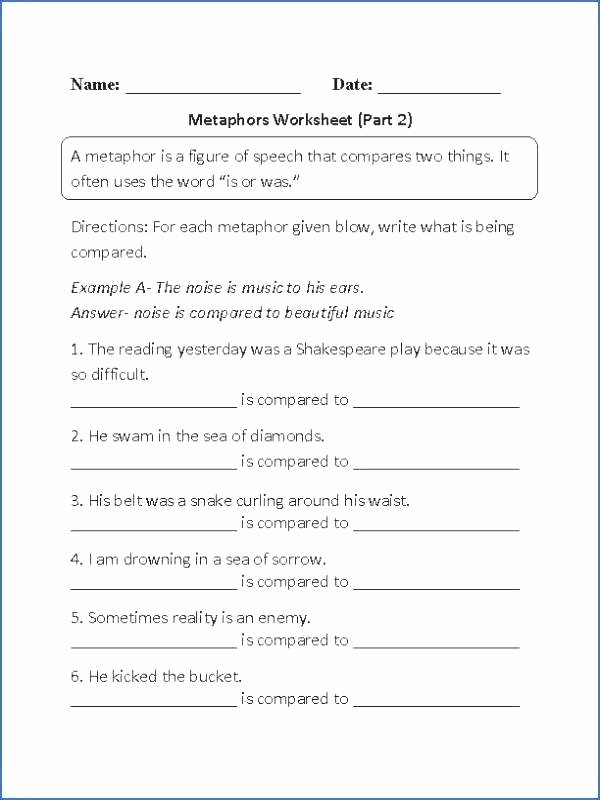 Personification Worksheets 6th Grade Figurative Language Worksheets 6th Grade