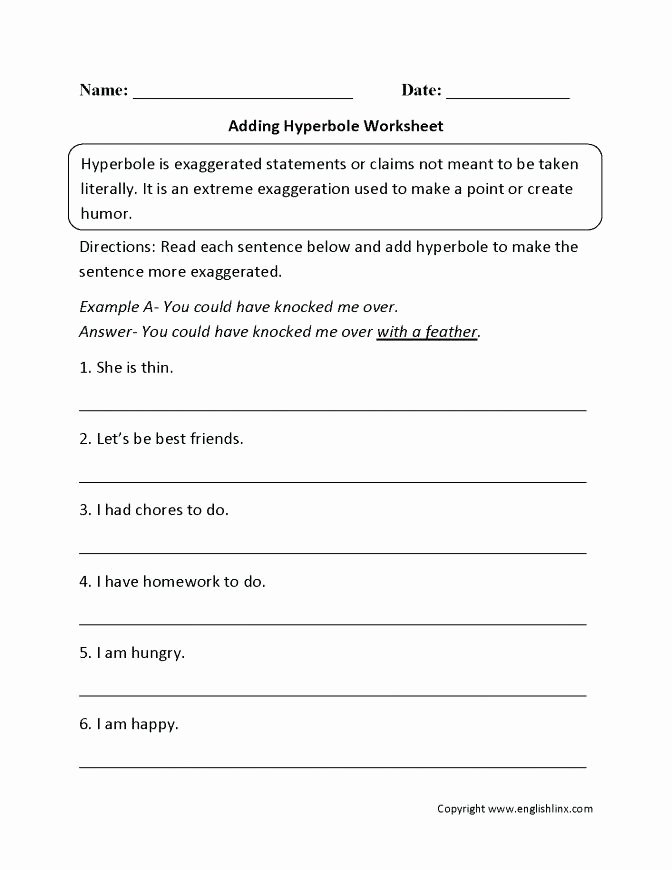 Personification Worksheets 6th Grade Figurative Language Worksheets Grade Free Elegant Simile
