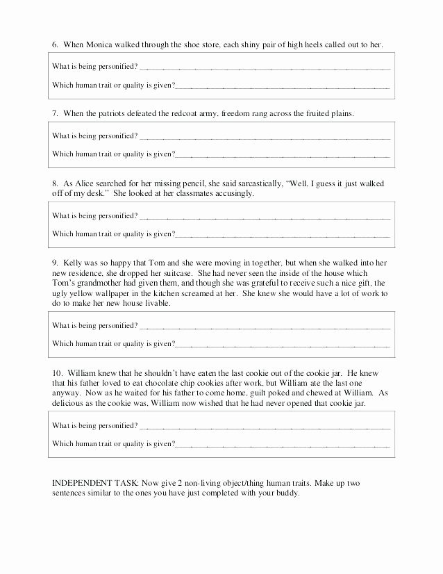 Personification Worksheets Answers Personification Worksheets Personification Worksheets