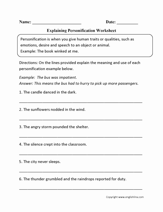 Personification Worksheets Answers Worksheet Ideas Activity Sheets Grade Math Textbook