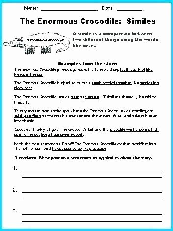 Personification Worksheets for Middle School Metaphor Worksheet Year Free Simile Worksheets Grade and for