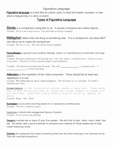 Personification Worksheets for Middle School Simile Metaphor Personification Worksheet Grade and Similes