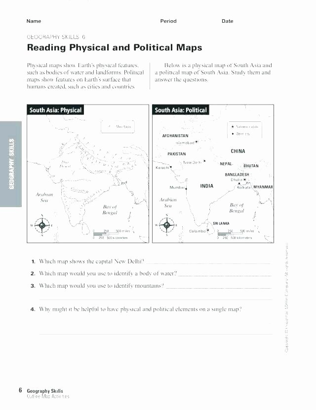 Physical and Political Maps Worksheets Grade Geography Worksheets Inspirational Skills Short Grade