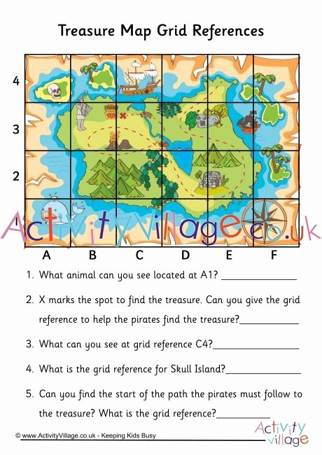 Physical and Political Maps Worksheets Practice Grid References with This Fun Treasure Map