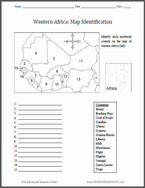 Physical and Political Maps Worksheets Western Africa Map Identification Worksheet Free to Print
