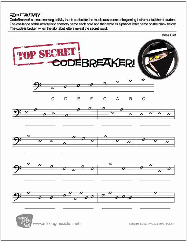 Piano Worksheets for Beginners Codebreaker Free Bass Clef Note Name Worksheet Digital