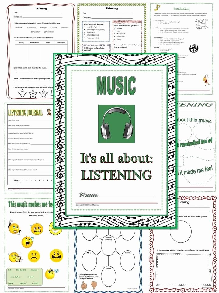Piano Worksheets for Kids Music Listening Journal Worksheets
