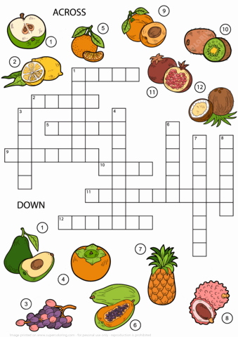 Pictogram Puzzles Printable Fruits Crossword Puzzle for Middle School
