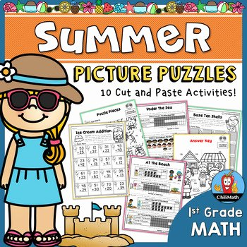 Pictogram Puzzles Printable Summer Math Picture Puzzles 1st Grade