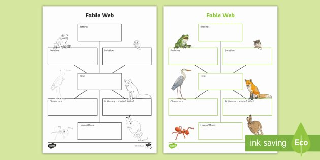 Plot and theme Worksheets Fable Web Worksheet Prehension Graphic organizer