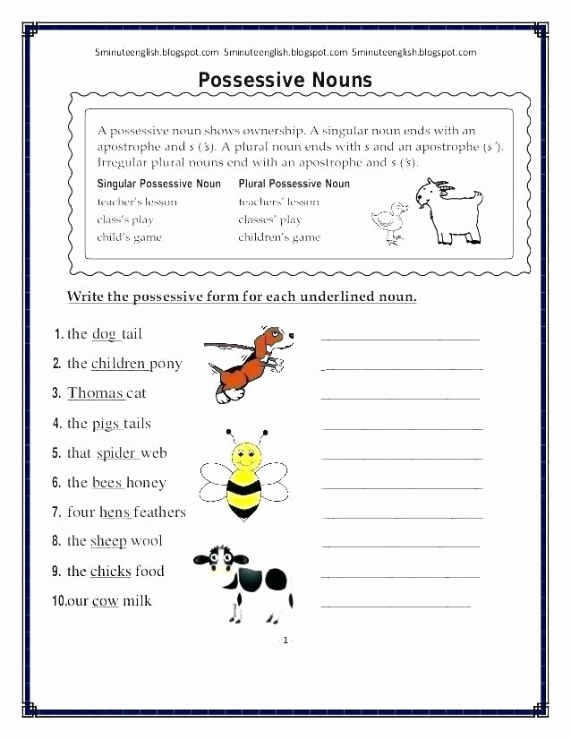 Plural Nouns Worksheet 5th Grade Singular and Plural Possessive Nouns Worksheets form for