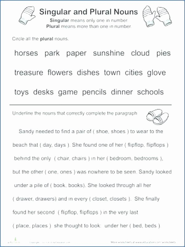 Plural Nouns Worksheet 5th Grade Singular and Plural Pronouns Worksheets Download Free