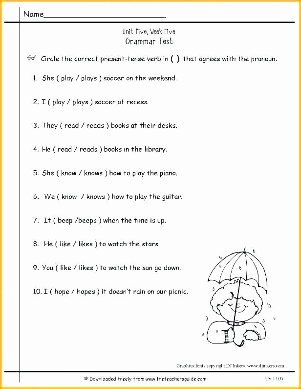 Plurals Worksheet 3rd Grade Pronoun Verb Agreement Worksheets Grade Worksheet for 4