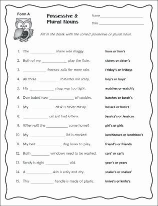 Plurals Worksheet 3rd Grade Singular Possessive Nouns Worksheets Best All and Plural