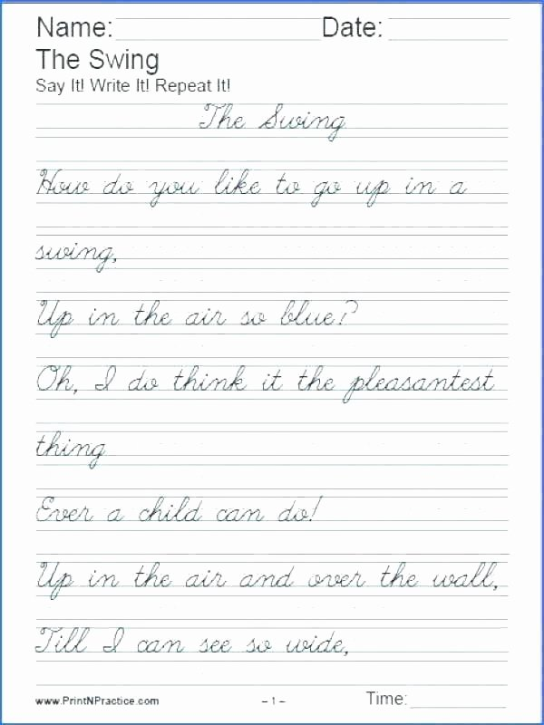Poetry Practice Worksheets 4th Grade Cursive Worksheets Handwriting Practice orange