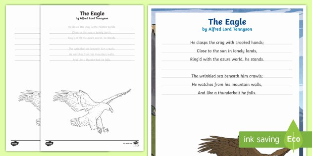 Poetry Practice Worksheets the Eagle Alfred Lord Tennyson Poem Handwriting Practice