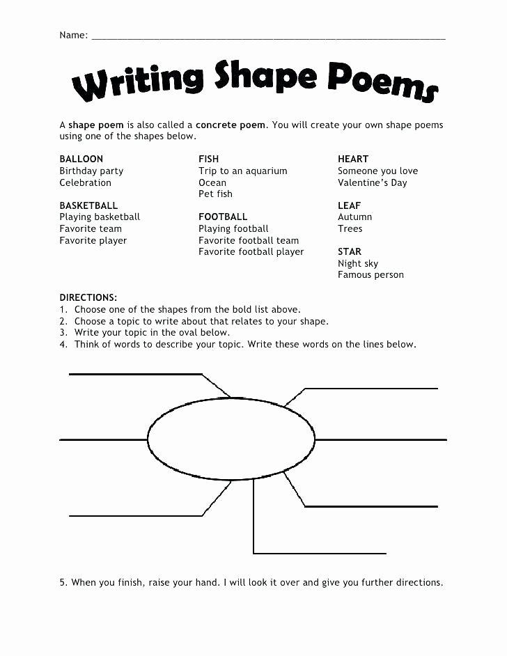 Poetry Worksheets Middle School Free Printable Poetry Worksheets