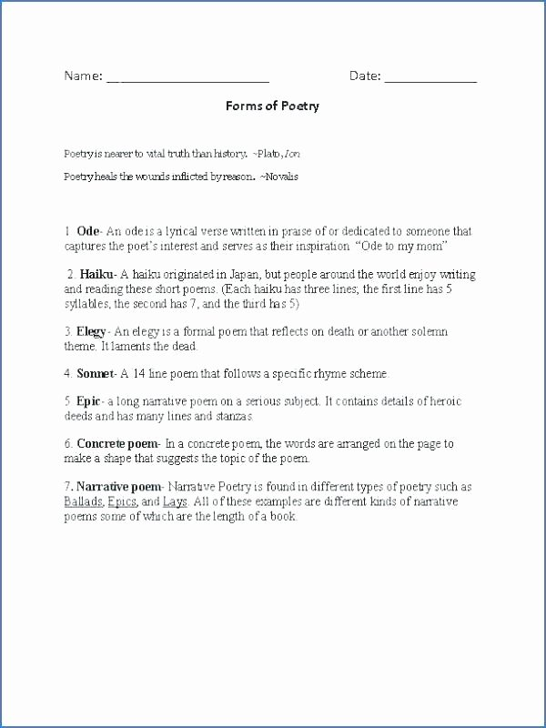 Poetry Worksheets Middle School Poetry Lesson Plans Grade Free Poetry Worksheets Free Poetry