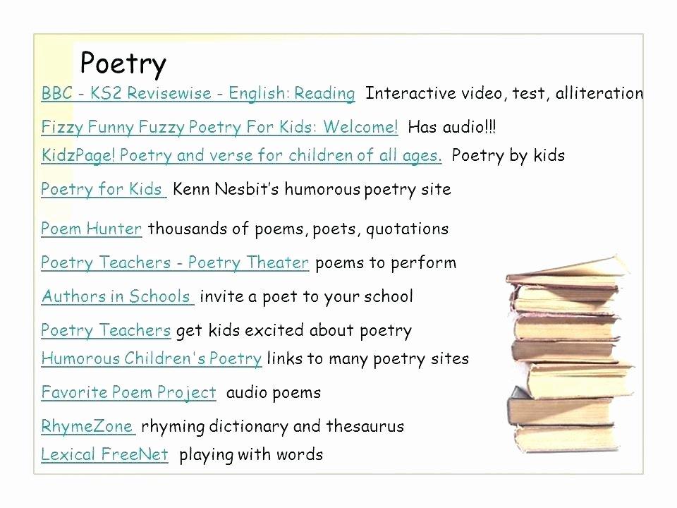Poetry Worksheets Middle School Poetry Worksheets for Kids