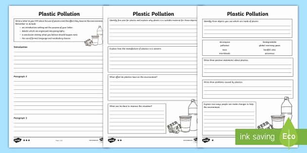 Pollution Worksheets Pdf Beautiful Plastic Pollution Differentiated Worksheet Activity Sheet