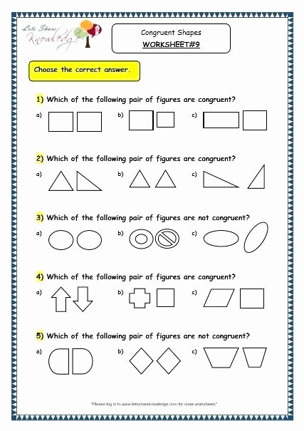 Polygon Worksheets 4th Grade Congruent Triangle Worksheet Figures Worksheets Similar and