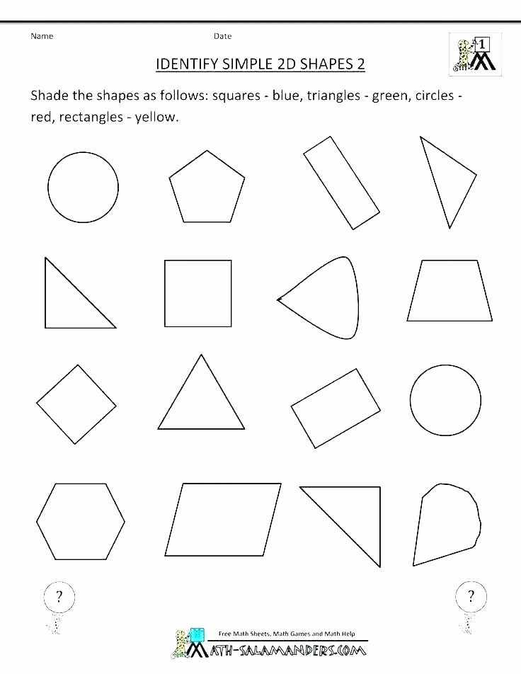 Polygon Worksheets 5th Grade Colour Identification Plane Shapes Worksheets Mon Plane