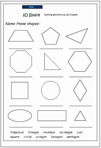 Polygon Worksheets 5th Grade Shape 3 Dimensional Shapes Worksheets for 6th Grade Two and
