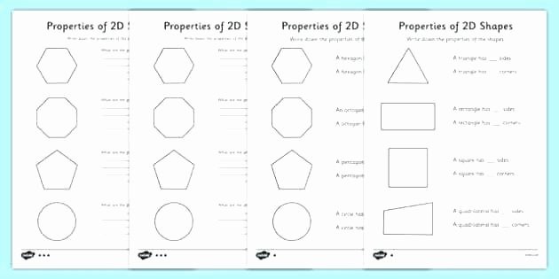 Polygon Worksheets for 2nd Grade 2 D Shapes Worksheets Two Dimensional Grade Free and 3