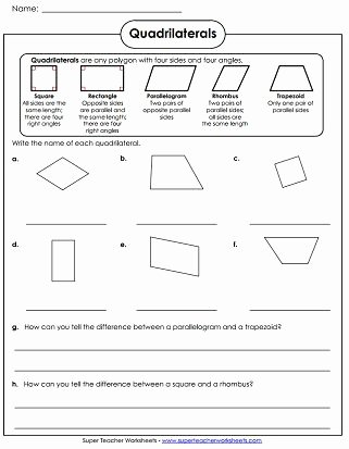 Polygon Worksheets for 2nd Grade Quadrilaterals Worksheet School Math