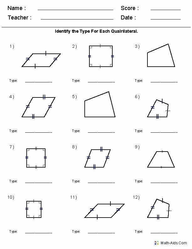 Polygons Worksheets 5th Grade Geometry Worksheets Quadrilaterals and Polygons Worksheets