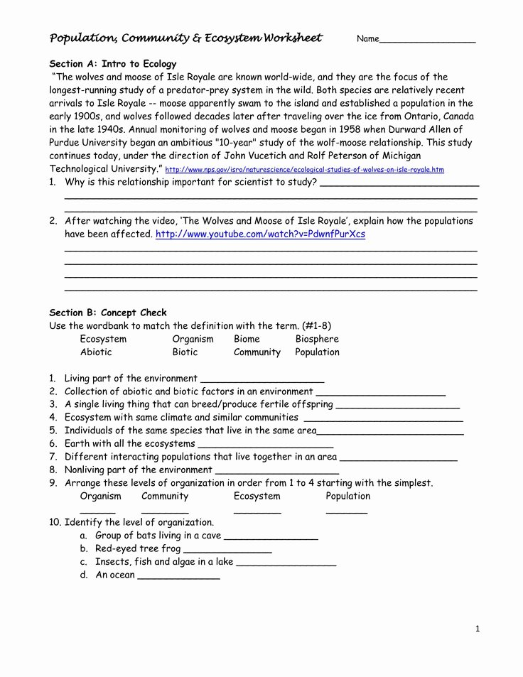 Populations and Communities Worksheet Answers Population Munity & Ecosystem Worksheet