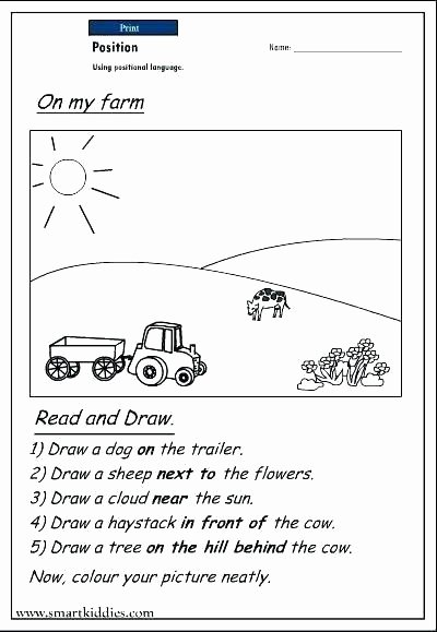 Positional Word Worksheets Position Worksheets Preschool Position and Direction