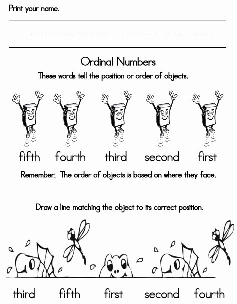 Positional Words Preschool Worksheets ordinal Numbers Sight Words Reading Writing Spelling