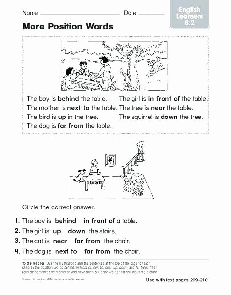 Positional Words Preschool Worksheets Positional Words Worksheets for Preschool – Odmartlifestyle