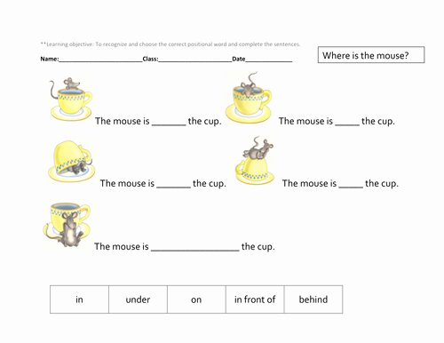Positional Words Worksheets for Preschool Positional Language