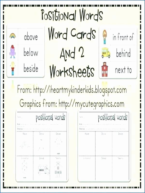 Positional Words Worksheets for Preschool Word Wall Worksheets