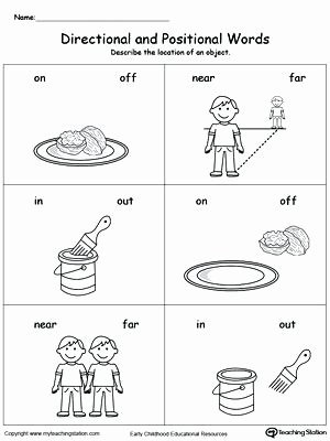 Positional Words Worksheets Kindergarten Position Worksheets for Kindergarten