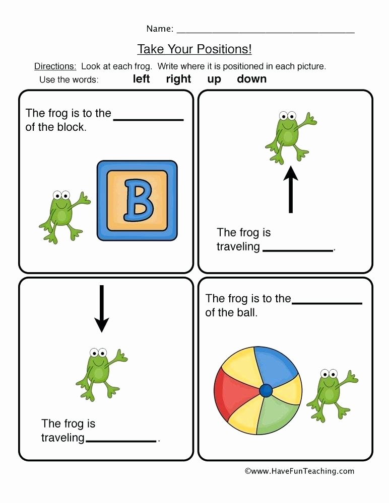 Positional Words Worksheets Kindergarten Position Worksheets