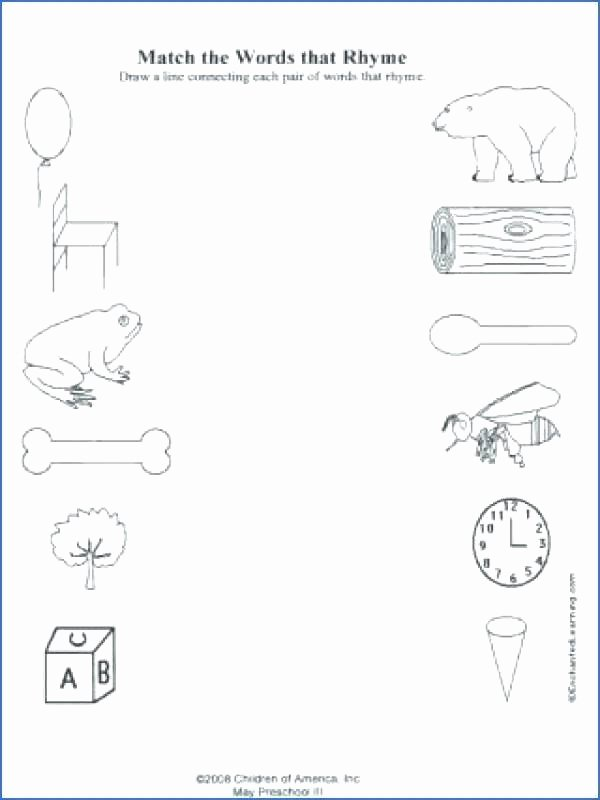 Positional Words Worksheets Kindergarten Rhyming Words Worksheets for Preschoolers