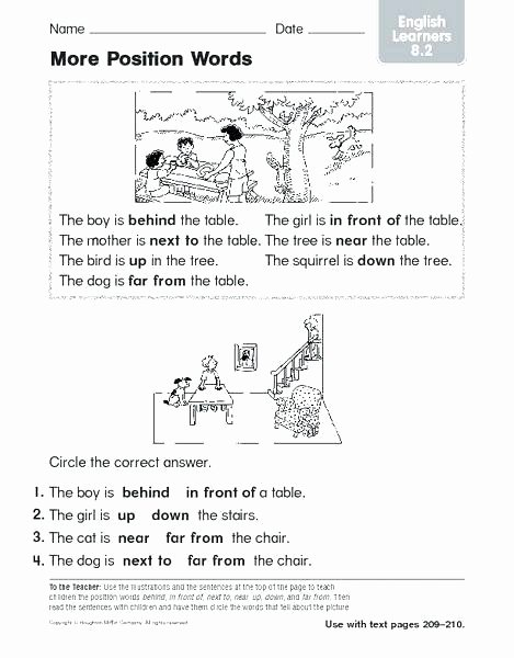 Positional Words Worksheets Worksheets Writing for Grade 1 Basic Worksheets English
