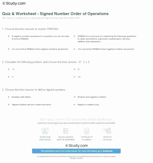 Positive and Negative Number Worksheets Number Operations Worksheets Exponents and Negative Numbers