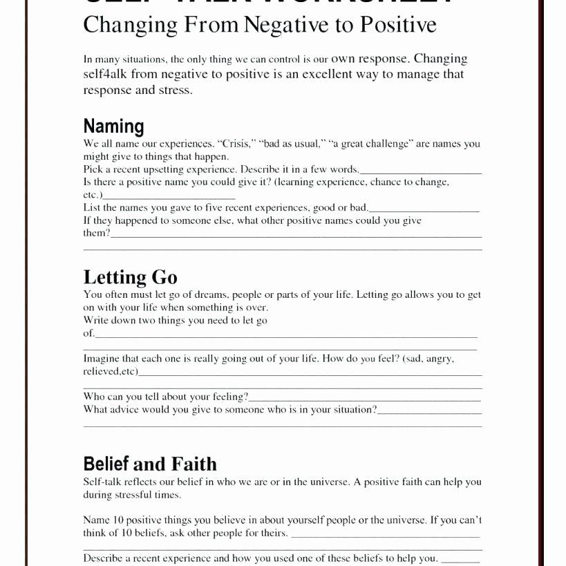 Positive Self Esteem Worksheets Self Image Worksheets