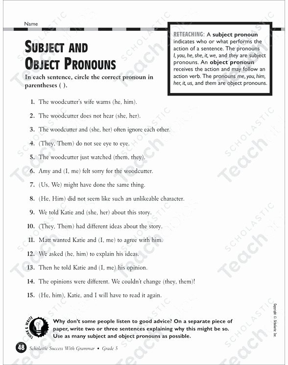 Possessive Pronoun Worksheets 5th Grade Object Pronoun Worksheets Subject Object Pronouns Worksheets