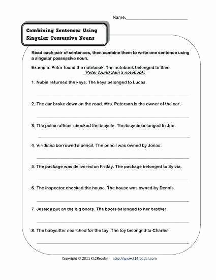 Possessive Pronoun Worksheets 5th Grade Plural Nouns Worksheets Grade Noun Singular and Possessive