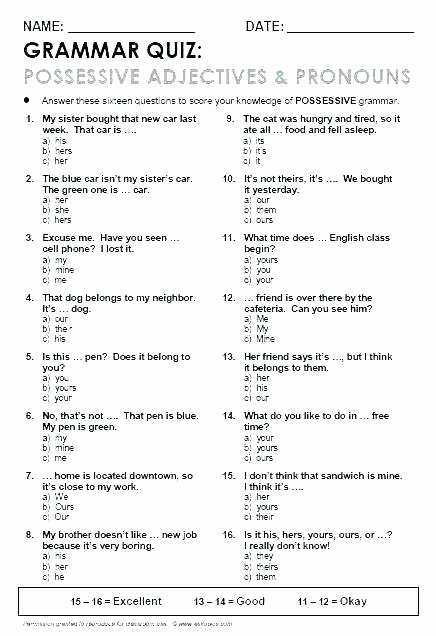 Possessive Pronoun Worksheets 5th Grade Possessive Nouns Worksheets Grade to Learning A Free